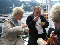 Eating cake on board ship