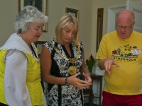 The Mayor of Douglas Councillor Carol Malarkey with Joan+Peter Cowell
